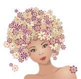 Het meisje met haar van bloemen Stock Afbeelding