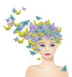 Het meisje met haar van vlinders Stock Afbeelding