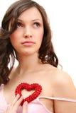 Het meisje met hart Royalty-vrije Stock Afbeeldingen