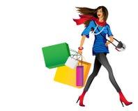 Het meisje met het winkelen stock illustratie