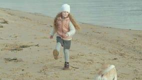 Het meisje met krullend haar in warme kleren, loopt, speelt met een bruine hond op het strand, voedt haar, de hondvangsten een tr stock footage