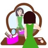 Het meisje met lippenstift Royalty-vrije Stock Afbeeldingen