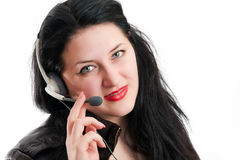 Het meisje met oortelefoons en een microfoon Royalty-vrije Stock Foto