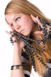 Het meisje met parels. royalty-vrije stock fotografie