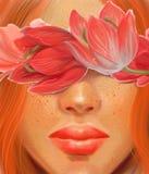 Het meisje met rode haar en bloementulpen op een huwelijk als thema heeft in de stijl van olieverfschilderij royalty-vrije stock afbeeldingen