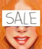 Het meisje met rood haar en de sproeten met de inschrijving verkochten in de stijl van olieverfschilderij stock fotografie