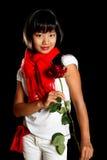 Het meisje met rood nam toe Royalty-vrije Stock Afbeelding