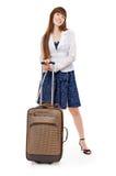 Het meisje met valise Royalty-vrije Stock Foto