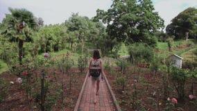 Het meisje met zak loopt door tuin in tropisch park, palmen, naaldbomen, bloemaanplanting stock video