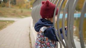 Het meisje onderzoekt de vijver in het park stock footage