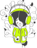 Het meisje in oortelefoons Vector Illustratie