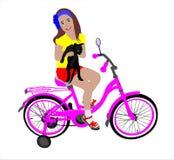 Het meisje op de fiets Stock Foto's