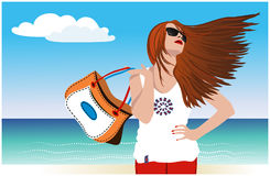 Het meisje op de kust van het overzees met het ontwikkelen van haar stock illustratie
