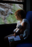 Het meisje op de trein Royalty-vrije Stock Foto