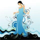 Het meisje op een donkerblauwe backgr Royalty-vrije Illustratie