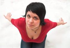 Het meisje op een sneeuw stock foto's