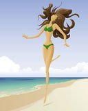 Het meisje op een strand Royalty-vrije Stock Foto's