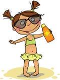 Het meisje op het strand Stock Afbeelding