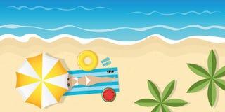 Het meisje op mooi Palm Beach onder paraplu met zonnebril en zwemt ring vector illustratie