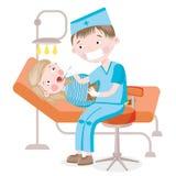 Het meisje op ontvangst bij de tandarts Stock Afbeelding