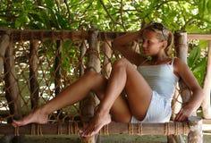 Het meisje op rust stock foto
