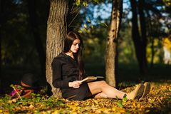 Het meisje in park las het boek Stock Afbeeldingen