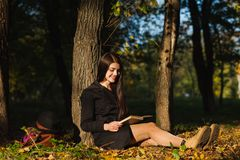 Het meisje in park las het boek Royalty-vrije Stock Foto