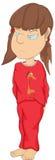 Het meisje in pyjama's. Beeldverhaal vector illustratie