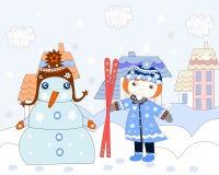 Het meisje rekt ski?ende sneeuwman, de winter uit Royalty-vrije Stock Foto