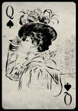 Het meisje in retro stijl Speelkaart stock illustratie