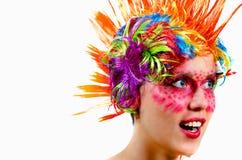 Het meisje in rode make-up Royalty-vrije Stock Afbeelding