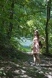 Het meisje in roze Stock Foto
