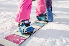 Het meisje in roze broekknopen die snowboard vastmaken Stock Fotografie