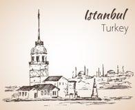 Het Meisje` s Toren van Istanboel en Bosphorus-Brug Turkije schets I Royalty-vrije Stock Foto's