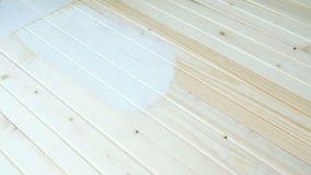 Het meisje schildert een houten raad met witte verf stock footage