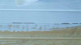 Het meisje schildert een houten raad met witte verf in langzaam motieclose-up, hoogste mening stock video