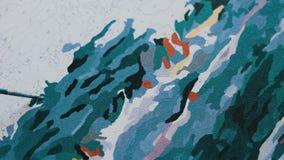 Het meisje schildert een mooi beeld met acrylverven op canvas Kleuring-antistress voor volwassenen stock video