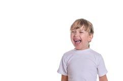 Het meisje schreeuwt sterk Stock Foto's