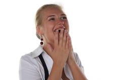 Het meisje schreeuwt van geluk Stock Foto's