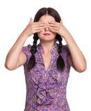 Het meisje sluit ogen Stock Foto's