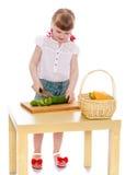Het meisje sneed salade Royalty-vrije Stock Foto