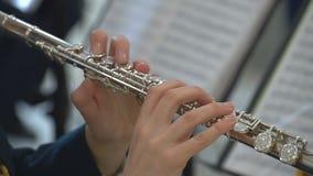 Het meisje speelt de fluit Blaasinstrumenten stock footage