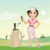 Het meisje speelt golf vector illustratie