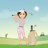 Het meisje speelt golf royalty-vrije illustratie