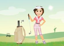 Het meisje speelt golf stock illustratie