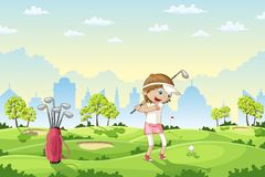 Het meisje speelt golf op een golfcursus Royalty-vrije Stock Foto