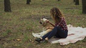 Het meisje strijkt een hond in het bos stock video