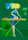 Het meisje strijkt kleren vector illustratie