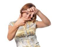 Het meisje toont gebaar stock afbeeldingen