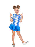 Het meisje toont gebaar o.k. Stock Foto